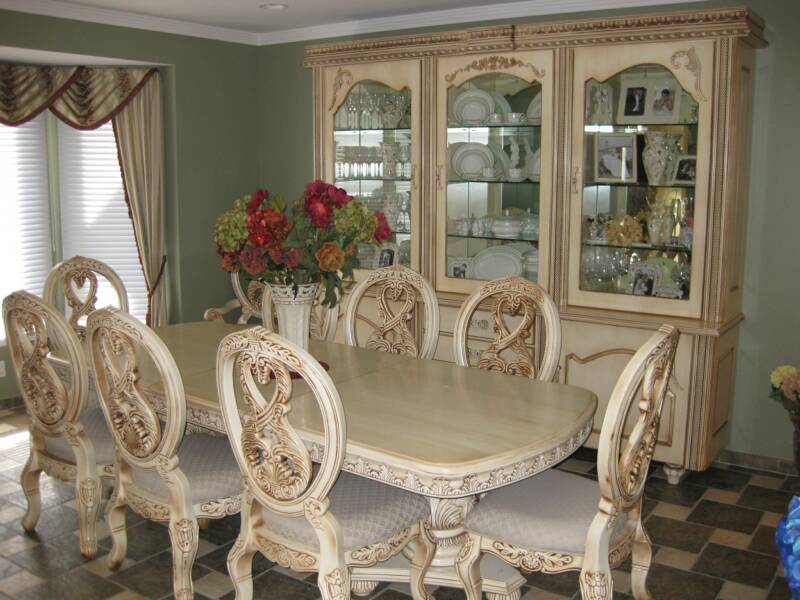 This old world styled dining room set is antiqued sprayed an off white  lacquer and. Nicholas Anthony Custom Woodwork LLC